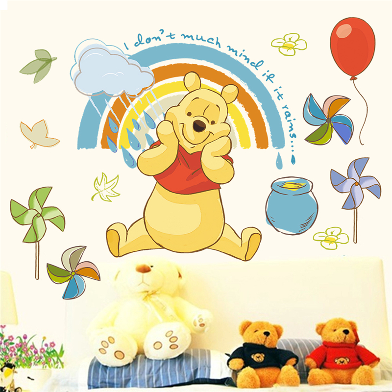 Disney cartoon winnie pooh wall decals Kids bedroom nursery home decor 40 60cm animals wall stickers pvc mural art DIY wallpaper in Wall Stickers from Home Garden