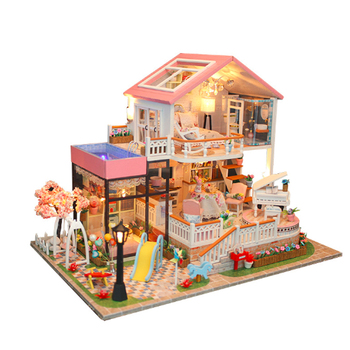Creative DIY cottage Children Adult Miniature Doll house Wooden Kits toy Sweet words Dollhouse building birthday gift toys