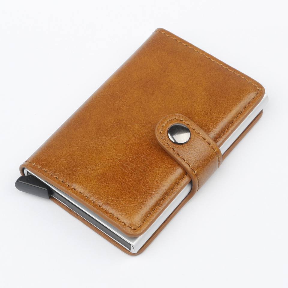 New Automatic Wallet Aluminum Alloy Card Case Anti-Degaussing Anti-Theft RFID Aluminum Bank Credit Card