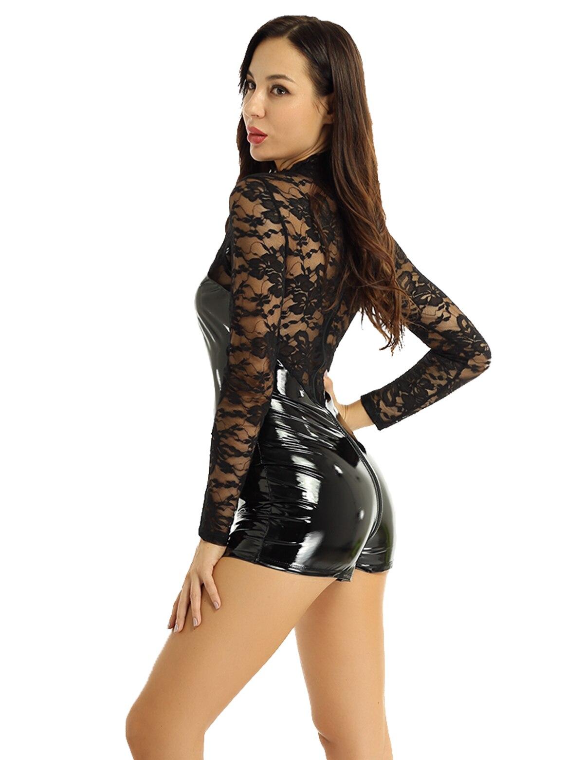Women/'s Sheer Lace Slim Wet Look Jumpsuit V-Neck See Through Bodysuit Clubwear