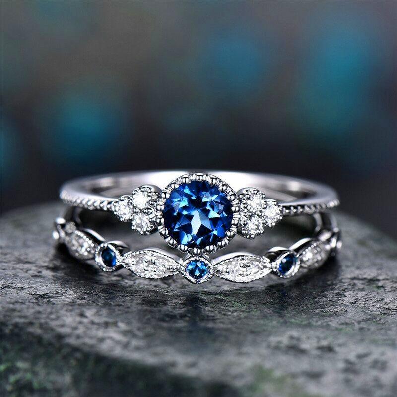 2 шт./компл. кольца Новинка; роскошная женская обувь, расшитая зелеными синий камень кольца с настоящими Австрийскими кристаллами Для женщин серебряного цвета Цвет Свадебные Обручение, модное ювелирное изделие - Цвет основного камня: Dark Blue