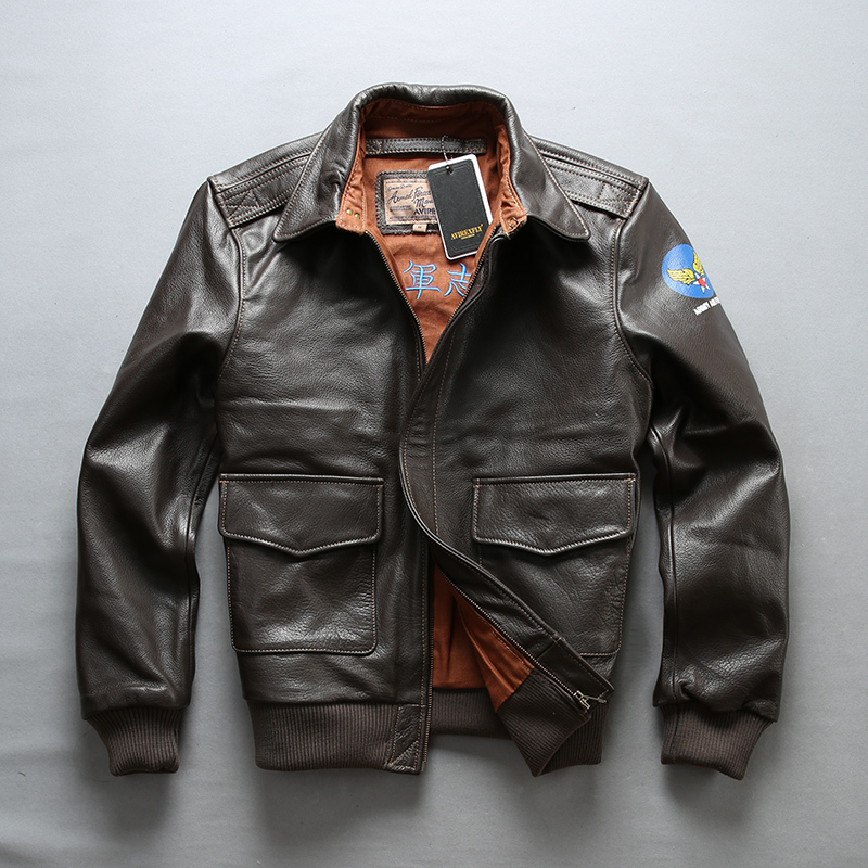 FLY Air Force Flight Jackets Motorcycle Genuine Men Cow Leather Coat Fur Bomber Jacket