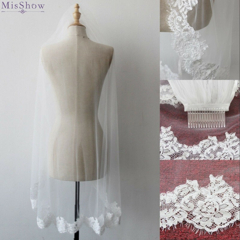 White Ivory Fingertip Wedding Veil With Comb Lace Edge Short Bridal Veil Wedding Accessories 2019 Voile Mariage