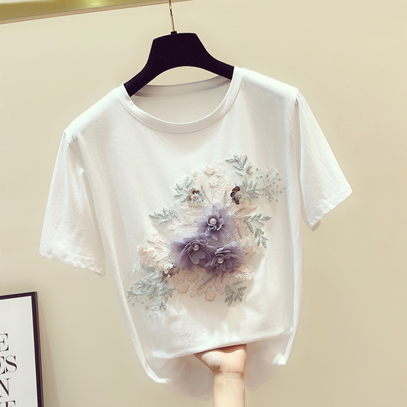 2020 Spring And Summer New Loose-Fit Short Sleeve Stereo Flower Beaded Lace Embroidered Short Sleeve T-shirt T-shirts Women's T