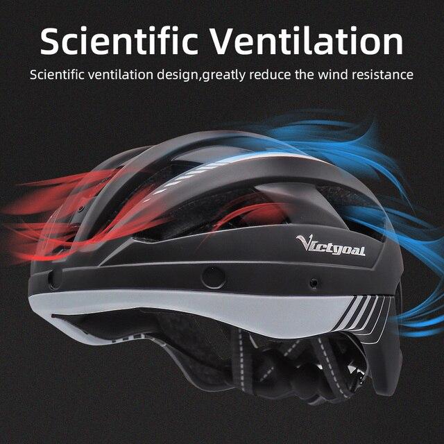 Victgoal mtb capacete da bicicleta moutain estrada usb recarregável backlight ciclismo capacete viseira sol polarizado óculos de proteção luz da bicicleta capacetes 5