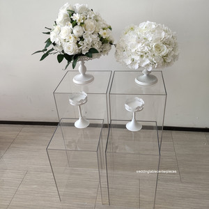 clear color tall square perspex acrylic plinth pedestal acrylic display riser for wedding flower stand
