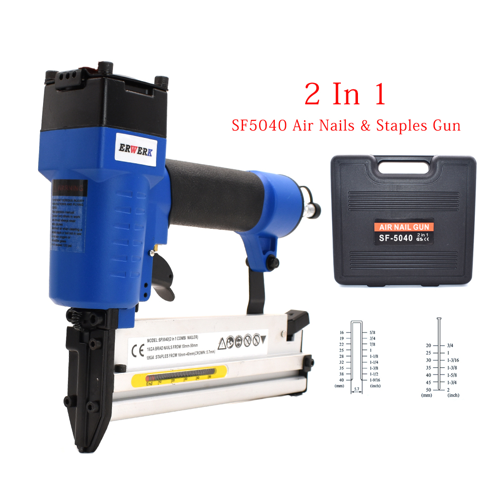 2 in 1 Framing Pneumatic Nail Staples Gun Set 3 4-Inch To 2-Inch 18GA Brad Nailer SF5040 Air Stapler For Woodworking