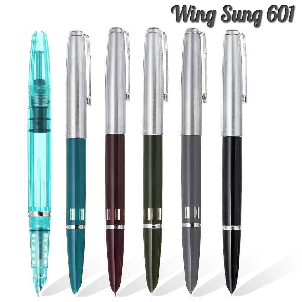 Модель 2020 крыло Сунг 601 вакуумная авторучка поршневого типа чернильная ручка серебряная крышка канцелярские офисные школьные письменные п...