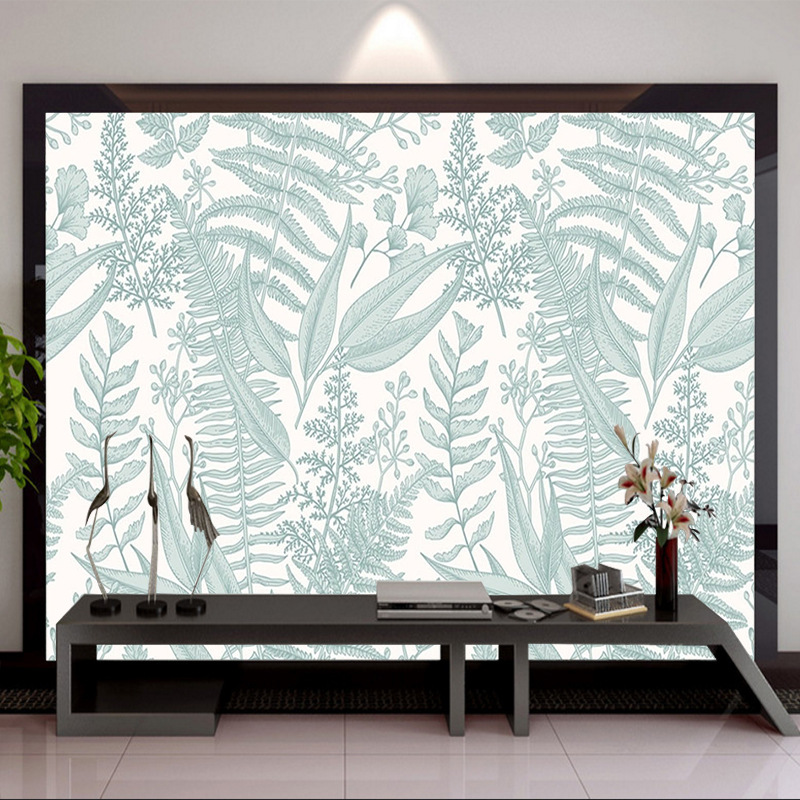 Modern Minimalist Wallpaper Mural Pastoral Style Leaf Brick Wall 3D Living Room Sofa Bedroom TV Backdrop Wall Wallpaper