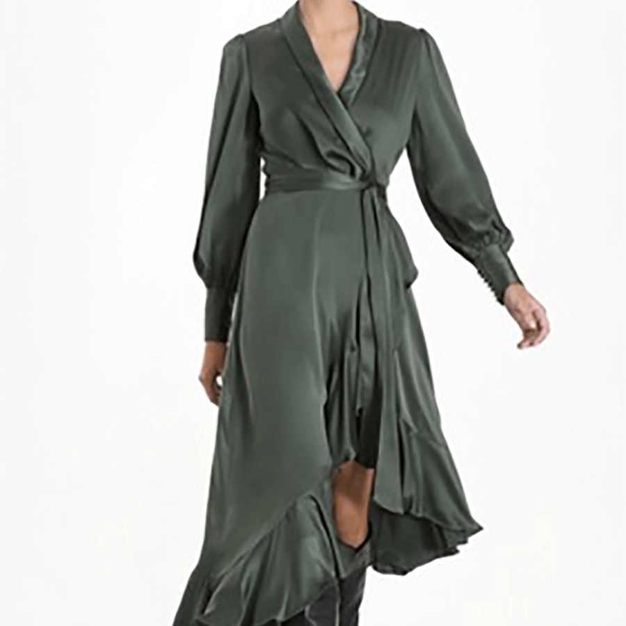 2019 новое поступление женское асимметричное платье с длинным рукавом элегантное женское платье однотонное модное пикантное платье vestidos