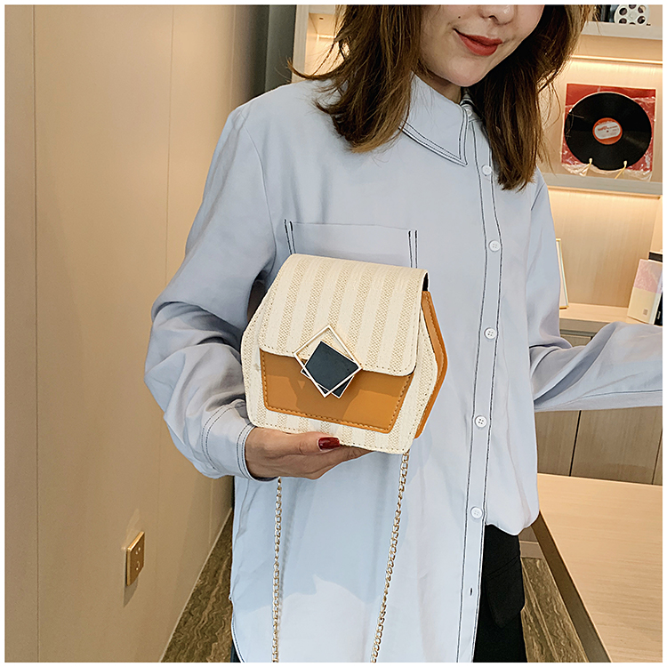 Mini Bag Girl 2019 New Korean Edition Fresh and Popular Fashion Chain PU Slant Bag Personal Bag Mobile Geometric Bag Clothes 92