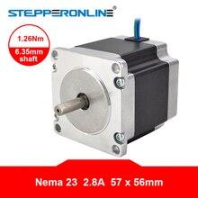 цена на Nema 23 Stepper Motor 1.26Nm 56mm Body Length 2.8A 23HS5628 Stepper 178.04oz.in Nema23 Motor 6.35mm Shaft for CNC Router