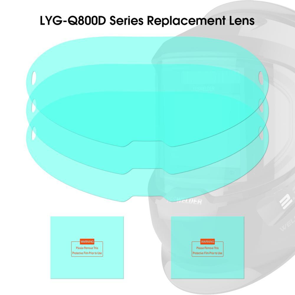 YESWELDER 3 Pcs Large Viewing Screen Outer Replacement Lens And 2 Pcs Inner Replacement Lens For LYG-Q800D Series Welding Helmet