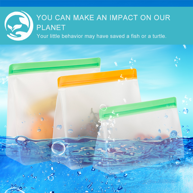 Translucent Frosted PEVA Food Storage BagThe Absolute Kitchen Reusable Silicone Food Storage Bags Food Storage Fresh-keeping Bag