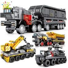 Huiqibao filme vagando caminhões de terra blocos de construção da cidade guindaste construção tijolos brinquedos educativos para crianças