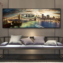 Night View of Brooklyn Bridge Landscape Canvas Paintings On the Wall Art Posters And Prints Modern New York City Canvas Picture