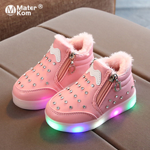 Size 21-30 Baby Toddler Shoes with Lights Children Led Wear-resistant Glowing Sneakers Girls Luminous Sneakers with Non-slip cheap Mater Kom 13-24m 25-36m CN(Origin) Four Seasons Lighted unisex LED Shoes Rubber Fits true to size take your normal size