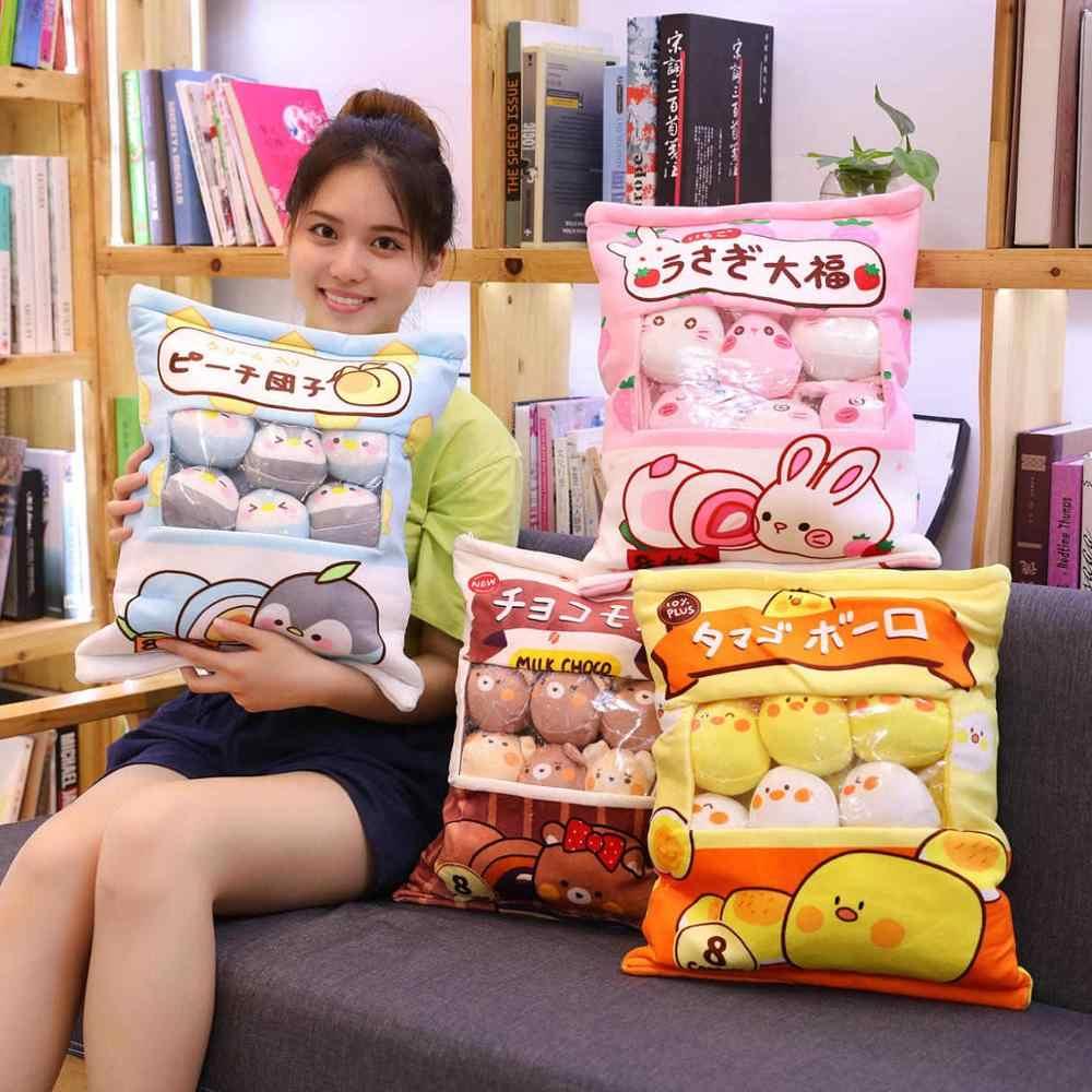 Un sac de peluche pouding jouets Mini animaux balles poupée Sakura lapin cochon Hamster pingouin Fruits fraise banane bonbons sac pour sieste