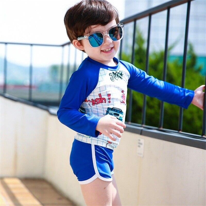 KID'S Swimwear BOY'S Cute Cartoon Sun-resistant Long Sleeve Children Split Type Two-Piece Set CHILDREN'S Swimsuit