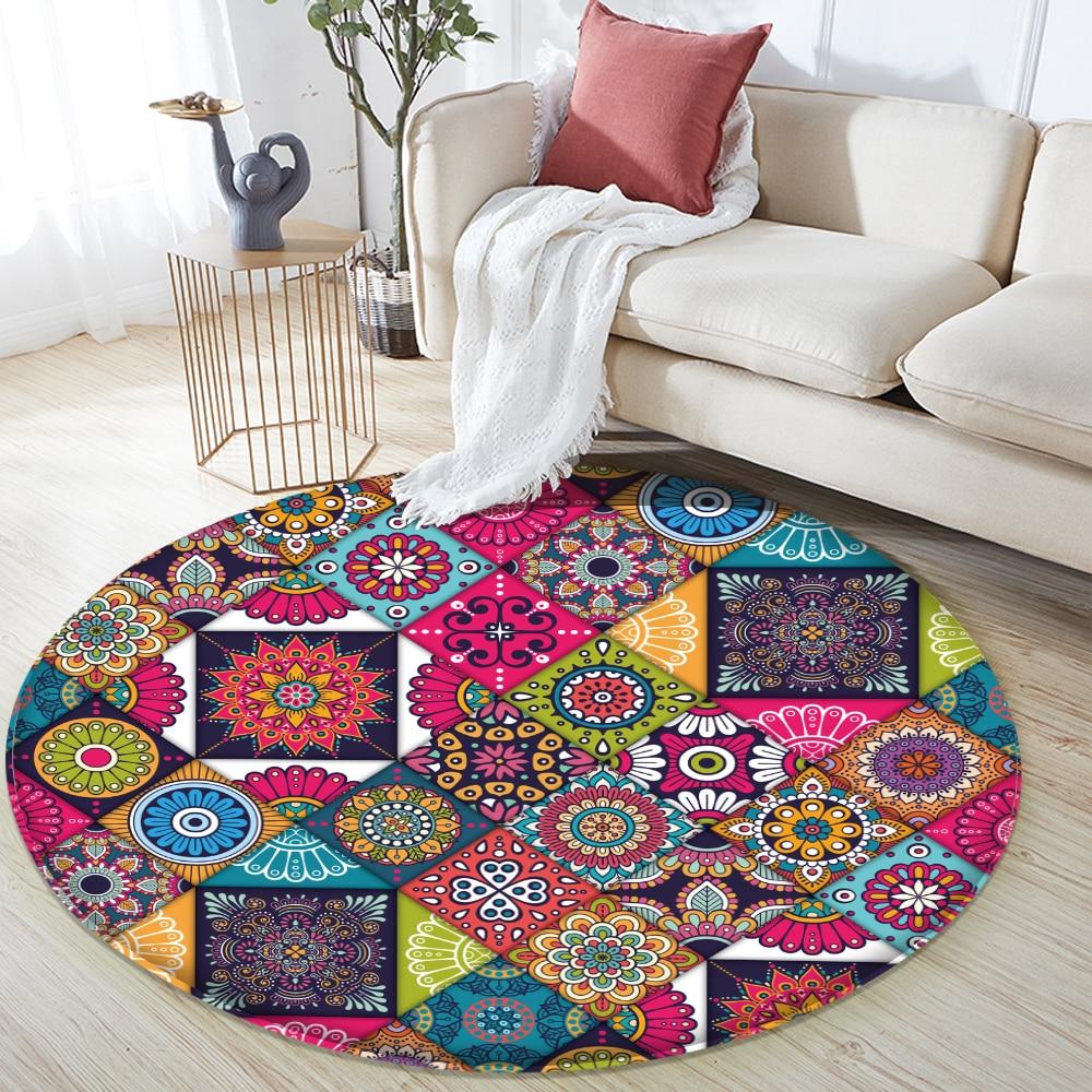 Decor Rugs Non-slip Mandala Style Colorful Floral Pattern Rug Floor Mat Living Room Bathroom Kitchen Living Room Bedroom Carpet