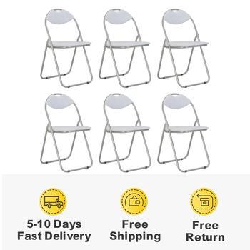 6 sztuk składane krzesła do jadalni z oparciem białe krzesła do jadalni krzesło kuchenne ze sztucznej skóry dom umeblowanie krzesła nowoczesne tanie i dobre opinie vidaXL ES (pochodzenie) 800mm Jadalnia meble pokojowe 44 x 43 x 80 5 cm Minimalistyczny nowoczesny Jadalnia krzesło 284409