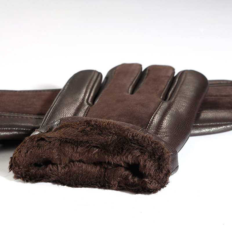 Image 5 - Genuien Leather Male Gloves Autumn Winter Thicken Warm Driving Sheepskin Gloves Man Black Casual Leather Gloves TU2801-in Men's Gloves from Apparel Accessories