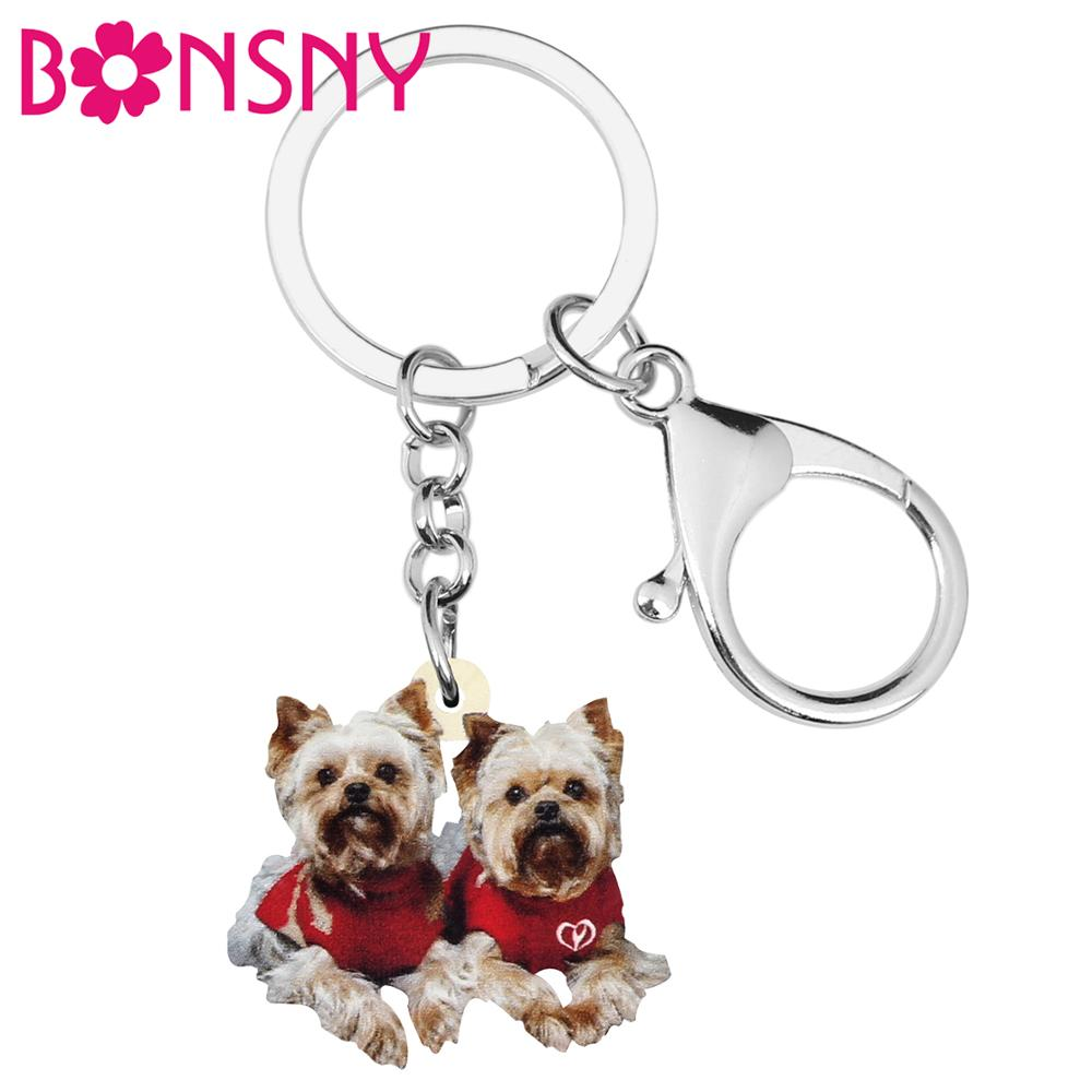 Bonsny Acrylic Christmas Double Yorkshire Dog Key Chains Animal Keychain Bag Car Purse Wallet Key Rings For Women Girl Lady Gift