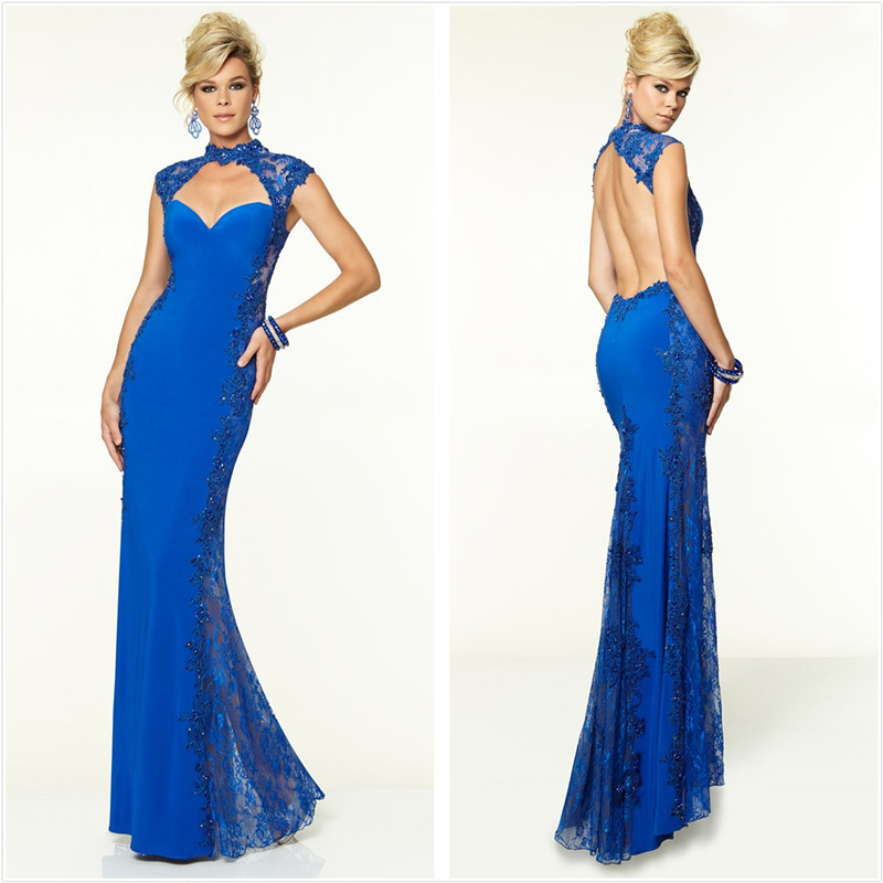 2018 Robe De Soiree High Neck SChiffon Lace Women Elegant 2018 Royal Blue Formal Evening Prom Gown Mother Of The Bride Dresses