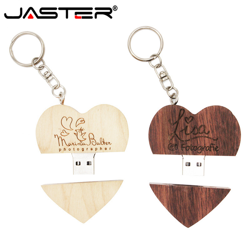 JASTER Promotion Wooden Heart-shaped U Disk 10 Pcs Free Logo USB 2.0 4GB/8GB/16GB/32GB/64GB USB Flash Drive Free Shipping