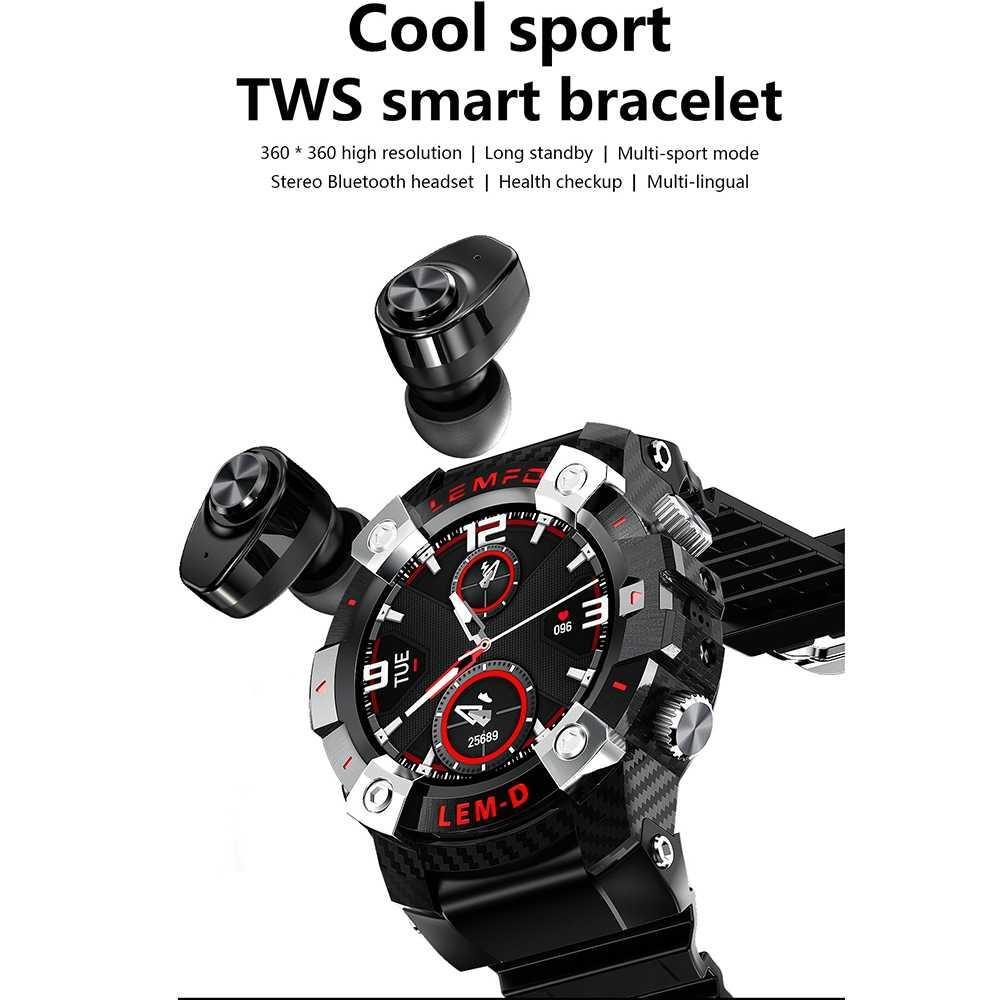 LEMD montre intelligente hommes 360*360 HD sans fil Bluetooth 5.0 écouteur 2 en 1 Sport Smartwatch