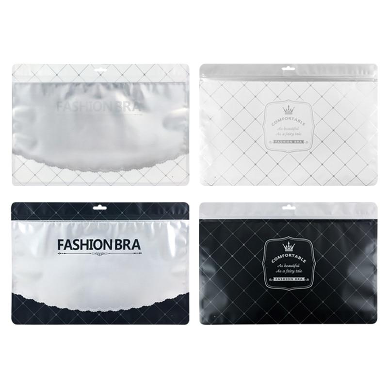 100 PCS Fashion Plastic Zip Lock Underwear Retail Packaging Bag, Gray Black Bra Underpants Shorts Storage Bag with Hanging Hole