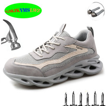Labor shoes men and women anti-smashing anti-puncture breathable lightweight summer steel toe cap work shoes safety shoes men labor insurance shoes men breathable deodorant safety work shoes steel toe caps anti smashing anti piercing site shoes 36 46