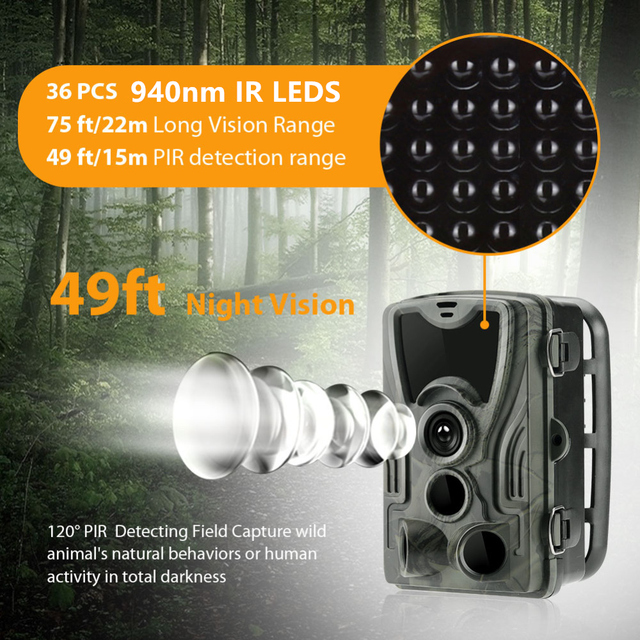 Goujxcy HC801 Hunting Camera 20MP Trail Camera Night Vision Forest Waterproof Wildlife Camera Photo Traps Camera Chasse Scouts 2
