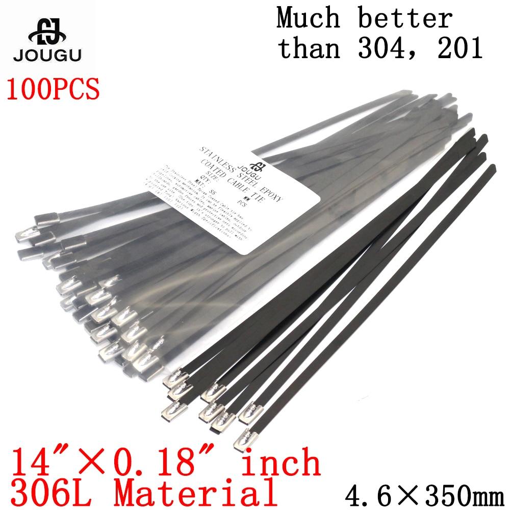 Стяжка для кабеля из нержавеющей стали, 100 шт., 4,6 × 350 мм, 316 материал, черная прочная металлическая стяжка морского класса с эпоксидным покрыт...