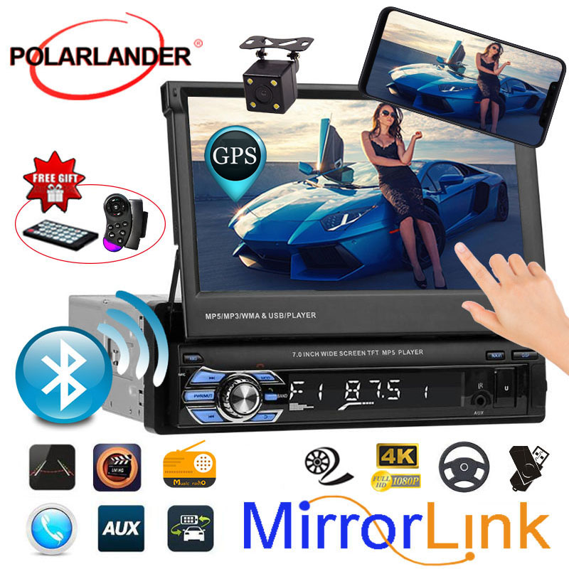 Car Radio 7 1 DIN Bluetooth USB/AUX/SD GPS Head Unit Stereo Mirror Link 12 Languages radio cassette player Autoradio