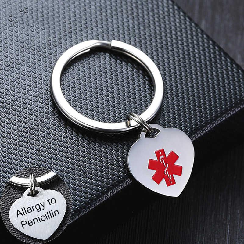 Pria Wanita Jantung Medis ID Pesona Gantungan Kunci Anti Alergi Stainless Steel Custom Personalisasi Darurat Pengingat Info Perhiasan