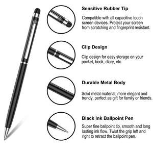 Image 4 - 500 Stuks Balpen 2 In 1 Fine Point Stylus Capacitieve Touch Microfiber Stylus Touch Screen Voor Ipad Iphone Wit zwarte Goud