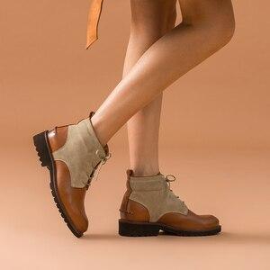Image 3 - Beautoday ankle boots feminino genuíno couro de vaca dedo do pé redondo laço up cores misturadas outono inverno senhora moda botas feitas à mão 03644