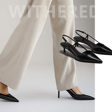 Withered england style office lady sheepskin soft Cusp stiletto high heel sandals
