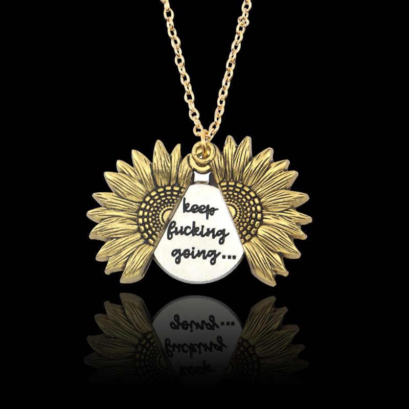 Nowy nie poddawać się słonecznika wisiorek naszyjnik kobiety mężczyźni złoty srebrny sweter łańcuch niestandardowy list naszyjnik dla prezent na Walentynki