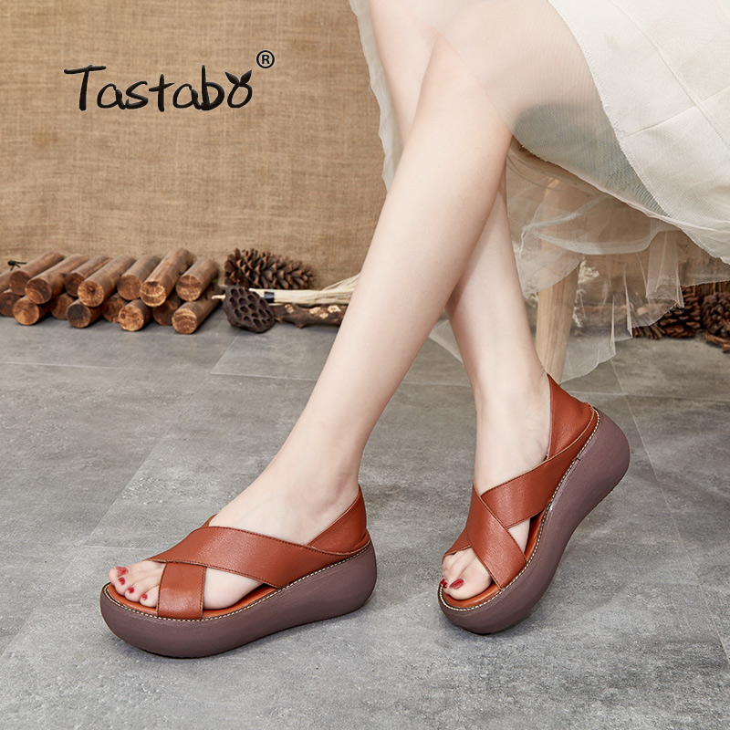 Platform Sandals Women Wedge High Heels Shoes Women Buckle Leather Canvas Summer Zapatos Mujer Wedges Woman Sandal H8807