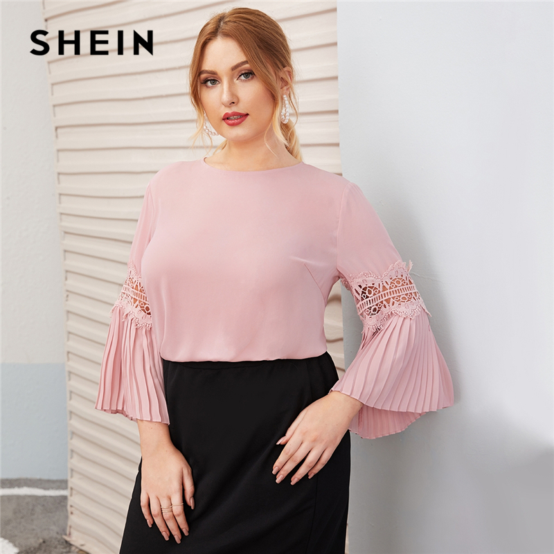 SHEIN Plus Size Pink Keyhole Back Lace Insert Pleated Sleeve Top Women Autumn Round Neck Solid Elegant Office Lady Plus Blouses