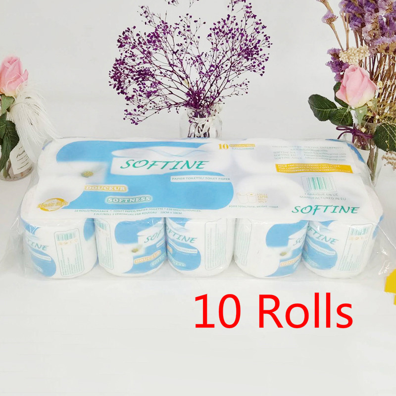 Fast Shopping 10 Rolls/Pack Home Kitchen Toilet Roll Paper Tissue Smooth Soft 3-Ply Toilet Paper Household Cleaning Paper Towels