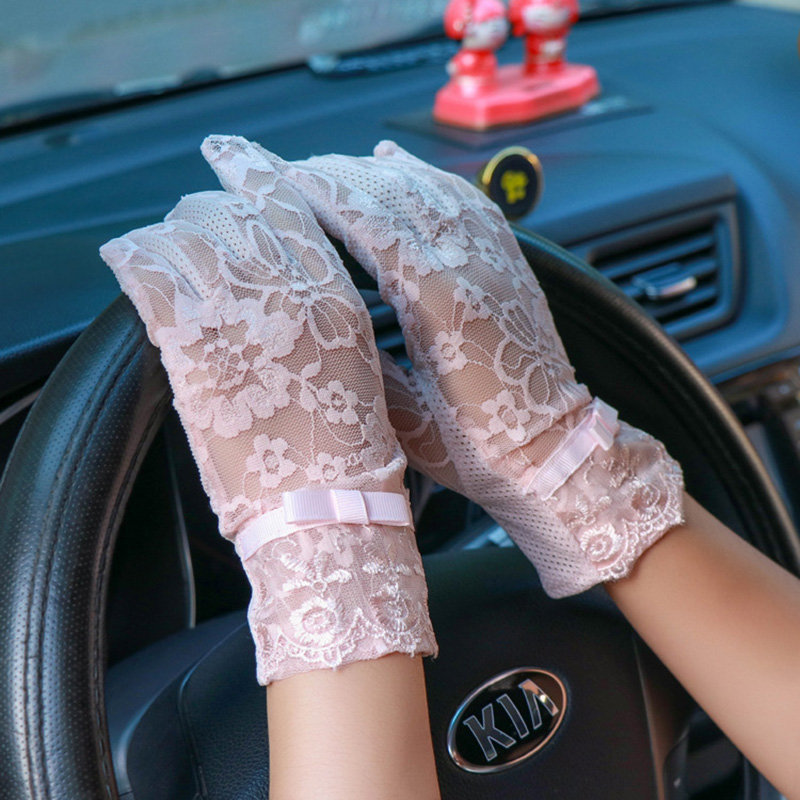 Sexy Summer Women UV Sunscreen Short Sun Screen Pearl Flowers Bow Gloves Thin Ice Silk Lace Touch Screen Lady Driving Gloves J52