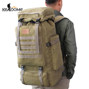 60L Large Military Bag Canvas Backpack Tactical Bags Camping Hiking Rucksack Army Mochila Tactica Travel Molle Men Outdoor XA84D 1