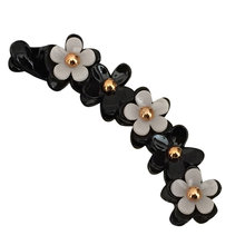 1pc Acrylic Barrette Flower Decor Banana Hair Clip Toothed Ponytail Holder Strong Tension Hair Claw(China)