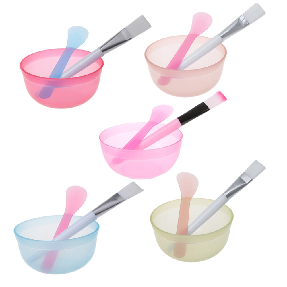 3pcs/set Portable Plastic Facial Mask Bowl Stick Brush Set DIY Mixing Applying Facial Care Makeup Beauty Tools Kit Color Random