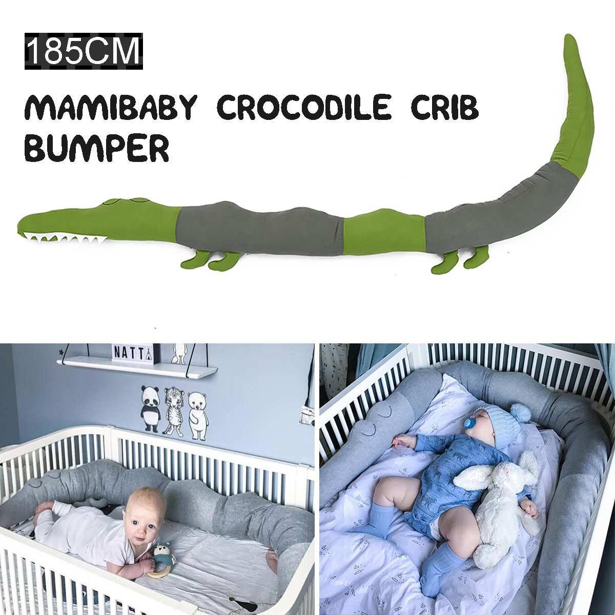 185cm Baby Infant Plush Crib Bumper Bed Bedding Cot Crocodile Pillow Protector