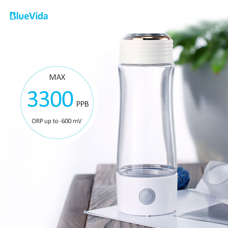 Pure H2 Max 3300ppb Hydrogen Water Generator With SPE&PEM Dual Chamber Technology High Concentration Hydrogen Water Bottle