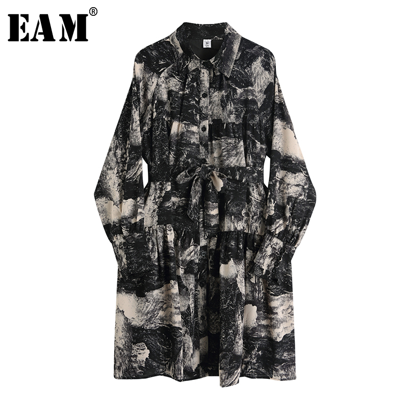 [EAM] Women Black Pattern Printed Temperament Shirt Dress New Lapel Long Sleeve Loose Fit Fashion Tide Spring Autumn 2020 1S384
